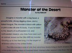Teacher resources.  http://www.superteacherworksheets.com/reading-comp/5th-monster-of-the-desert.pdf