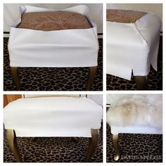 DIY: Salvage a Footstool and Make These Gorgeous Fur Ottomans Footstool Coffee Table, Coffee Tables, Furniture Making, Diy Furniture, Fur Decor, Leather Ottoman, Interior Design Tips, Furniture Makeover, House Colors
