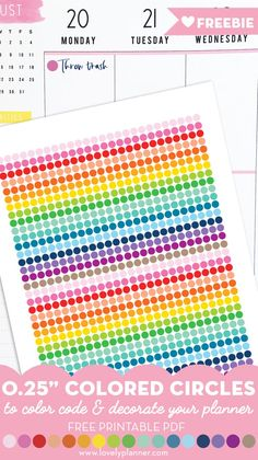Free Printable Rainbow Colored Circles Planner Stickers to color code and decorate your planner, bullet journal, travel notebook, study notes, etc. More sizes available. To Do Planner, Passion Planner, Free Planner, Erin Condren Life Planner, Happy Planner, Planner Ideas, Teacher Planner, Printable Planner Stickers, Free Printables