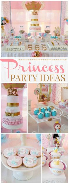 What a pretty pink and gold princess party! See more party ideas at CatchMyParty.com!