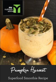 Pumpkin Harvest Superfood Smoothie Recipe!  Extremely healthy superfood smoothie with pumpkin seeds blended in.  Contains over 10 different superfoods in the Ancient Delight Superfood Mix we are using.  Click on the image for the recipe.  #mnasmoothie