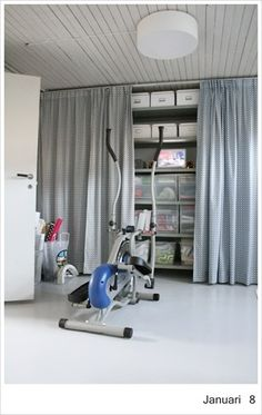 Basement - curtains are a good idea for storage areas