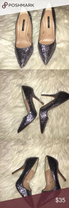 Zara glitter heels size 38 - 4 inch heel Beautiful sequin/glitter heels - worn some and only wear is on bottom sole - remainder of shoe and heel are in great condition see pictures - shoe is no longer available Zara Shoes Heels