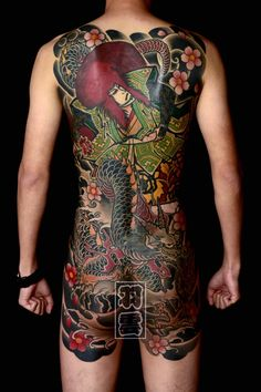 Japanese Tattoos For Men, Japanese Dragon Tattoos, Japanese Tattoo Art, Traditional Japanese Tattoos, Japanese Tattoo Designs, Japanese Art, Back Tattoos For Guys, Full Back Tattoos, Full Body Tattoo