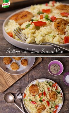Treat yourself to a fancy dinner this week with our Scallops with Lime Scented Rice. Bring water, spread, Knorr® Rice Sides™ Herb & Butter, lime juice & red pepper to a boil. Reduce heat and simmer covered, stirring occasionally, 7 mins or until rice is tender. Stir in green onions & let stand 2 mins. Meanwhile, season scallops with salt & ground black pepper. Heat olive oil and cook scallops, turning once, 6 mins or until golden brown. Arrange scallops around rice on a serving platter.