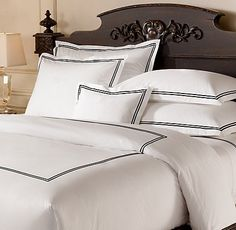 Italian Hotel Satin Stitch bedding. Restoration Hardware.