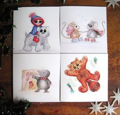 Cute Animal Christmas Cards pack of 4 by SproutymouseDoodles