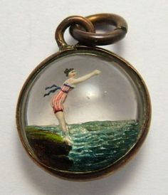 Fabulous charm - Victorian Rock Crystal Lady Diving Intaglio Bubble Charm