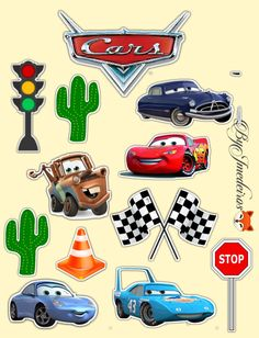Disney Cars Birthday, Cars Birthday Parties, 1st Boy Birthday, Birthday Party Decorations, Car Cake Toppers, Cupcake Toppers Free, Flash Mcqueen, Happy Birthday Cake Topper, Disney Scrapbook
