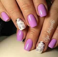 For whatever the length of the nails you decide, purple color will suit them.