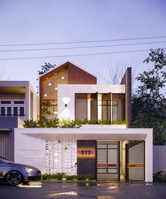 Nghia House on Behance Bungalow House Design, House Front Design, Small House Design, Modern House Design, Facade Design, Exterior Design, Architecture Design, Modern House Facades, Small Modern House Exterior