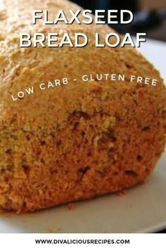 A flaxseed bread loaf that is a healthier replacement for bread as is is high in fibre and low in carbs. Gluten free too, this makes a great bread for toast. Flaxseed Bread, Coconut Flour Bread, Flaxseed Gel, Almond Bread, Coconut Oil, No Bread Diet, Best Keto Bread, Bread Food, Yeast Bread