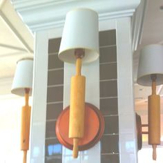 Cool Rolling pin light fixture at a bakery.
