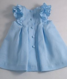 Ice Blue Linen Pleated Frilly Dress by patriciasmithdesigns