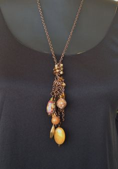Hippie Folk Art Copper Necklace and Earrings with by WirednStrung