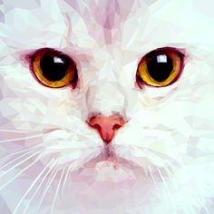 Geometric White Cat Art Print by jennifergibson Regard Animal, Polygon Art, Cat Art Print, British Shorthair, Green Art, Cat Face, Beautiful Cats, Cat Breeds, Cats And Kittens
