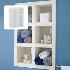 I have been thinking about storage options in our small house, and discovered that many people are utilising the spaces between wall studs for recessed shelves or cupboards. What a great idea!