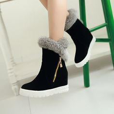 May 2018 - Rabbit Fur Wedges Snow Boots Women Shoes Fall Women's Shoes Sandals, Wedge Shoes, Shoe Boots, Dress Shoes, Ankle Boots, Clog Sandals, Sneakers Mode, Sneakers Fashion, Converse Trainers