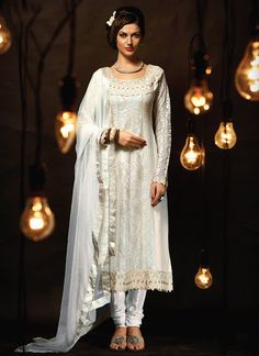 Off White Georgette N Net Straight Suit