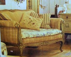 """""""eclectic-revisited-settee-toile-french-provencial-provence-decor-living-room-grainsack-pillows-ticking-fabric-decorating-ideas"""""""