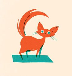 I like this cat; who, to me, looks more like a fox.  I think it would make a great 2 color (but 3 screen) Screen Print.  Also, I really dig the Artist's work.  UK's Olly Moss does some great design.  -KWA