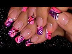 Trendy Pink & Purple Nail Art Design Tutorial