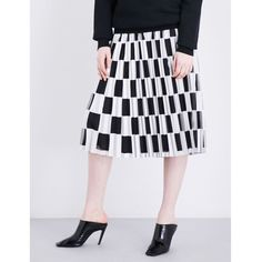 Off-White C/O Virgil Abloh Check-print satin plissé skirt ($500) ❤ liked on Polyvore featuring skirts, satin a line skirt, checked skirt, pleated skirt, high-waisted skirts and high waisted pleated skirt