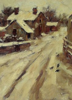 Country Road by Theodore Robinson. American Impressionism, Post Impressionism, Impressionist Landscape, Landscape Paintings, Landscapes, Theodore Robinson, Snow Art, Oil Painting Reproductions, Urban Life