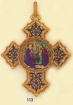 Art Nouveau Pendant. Carved gold, carved silver and enamel cross pendant. Froment-Meurice, Paris