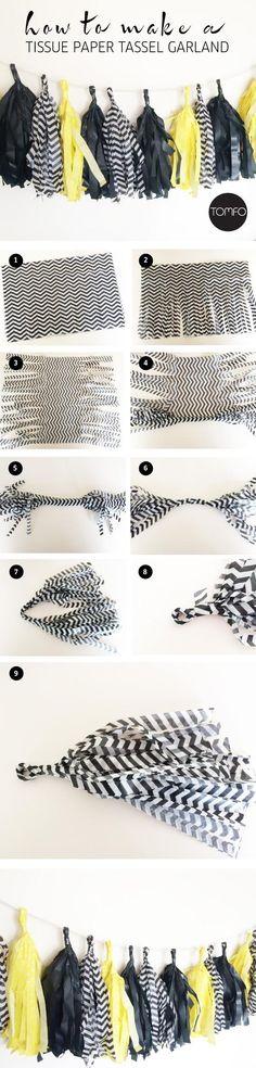Diy Tassel  : DIY make your own Tissue Paper Tassel Garland