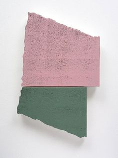 Miles Hall, Once in Union, 2013. Acrylic on prepared EPS panel 51 x 34 x 4cm. Photo: Jan Manton Art // green; pink; broken; colour block.