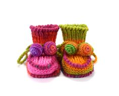 Baby Booties Knitted Baby Boots Knit Girl Shoes by SasasHandcrafts