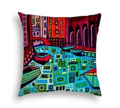 Venice Canal Boats Italy Cityscape City Skyline Folk Art throw Pillow by Heather Galler - 5 Sizes to choose from
