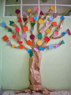 tree with circle-triangle-square-rectangle Triangle Square, Stem Steam, Color Shapes, Diy For Kids, At Home Workouts, Kindergarten, Preschool, Teaching, Create