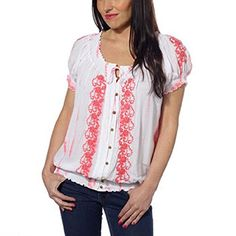 Fever Ladies Short Sleeve Peasant TopCoral Large *** Read more  at the image link.Note:It is affiliate link to Amazon.