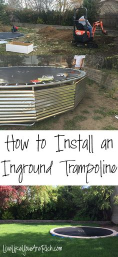 how to install an inground trampoline How to Install an Inground Trampoline Step-by-step easy to fol Trampoline Steps, Backyard Trampoline, Backyard Playground, Sunken Trampoline, Backyard Toys, Backyard Projects, Outdoor Projects, Home Projects, Backyard Designs