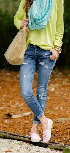 Yellow Stem Long Sleeve Shirt, Turquoise Pom Pom Scarf, Distressed Denim Skinnies, Pink Toms by Sequins and Things