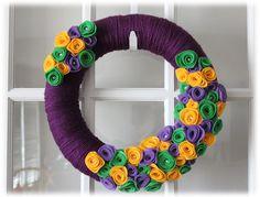 Mardi Gras Spring Easter Yarn Wreath Purple by TheLandofCraft, $42.75