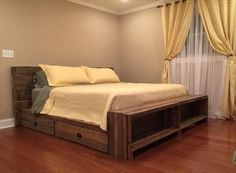 DIY Pallet Bed with Storage Drawers | 101 Pallets More