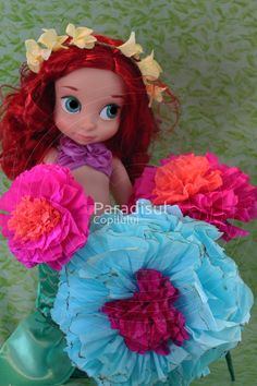 Ariel Mermaid with lovely paper flowers