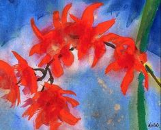 Emil Nolde (German, Orchideenzweig (Rote Rispen) [Orchid branch (Red panicles)], Watercolour on thick Japan paper, x cm. Emil Nolde, Edvard Munch, Karl Schmidt Rottluff, Adult Art Classes, Abstract Nature, Beginner Painting, Art Moderne, Flower Art, Printmaking