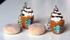 Polymer Starbucks Earrings Food Clay Charm Fashion by Sweetystuff, £12.00