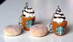 DIY your photo charms, 100% compatible with Pandora bracelets. Make your gifts special. Make your life special! Polymer Starbucks Earrings Food Clay Charm Fashion by Sweetystuff, £12.0