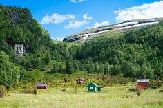 "Kvanndal.   Four small cabins. Similar cabins are often called ""stølshytter"" which means small farm houses that were located close enough to the farmlands so that the milkmaids could go back and forth."