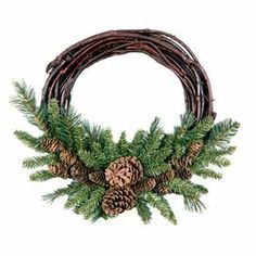 """Welcome family, friends, and neighbors to your home with this charming wreath, showcasing pinecones on a twig base.  Product: WreathConstruction Material: Twigs and pineconesColor: Brown and greenFeatures: Flame-resistantDimensions: 16"""" Diameter"""