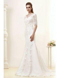 Amazing Sheath V-Neck Satin and Lace Chapel Train Wedding Dress