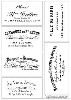 Gorgeous French Typography Labels and Project! - The Graphics Fairy