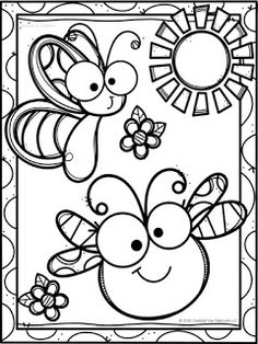 Spring Coloring Pages, Cute Coloring Pages, Animal Coloring Pages, Coloring For Kids, Coloring Sheets, Coloring Books, Free Coloring, Insect Coloring Pages, Art Drawings For Kids