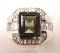 4.64ct Men's Green Moldavite / White Topaz Silver 925 Ring Plat Size 10 Tektite #SolitairewithAccents