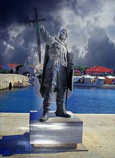 Nin, Croatia /  Statue of Branimir  / ruler of the Duchy of Croatia who reigned as knez (duke) from 879 to 892.  During his reign, Croatia retained its sovereignty from both Frankish and Byzantine rule, and became a fully recognized state.